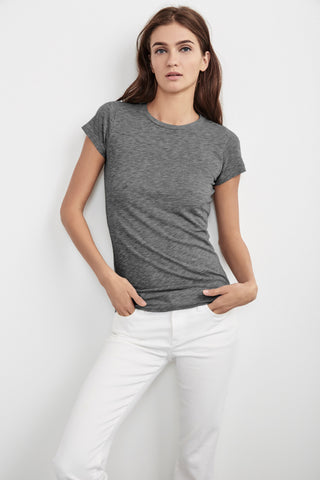 JEMMA GAUZY WHISPER CREW NECK TEE IN HEATHER GREY
