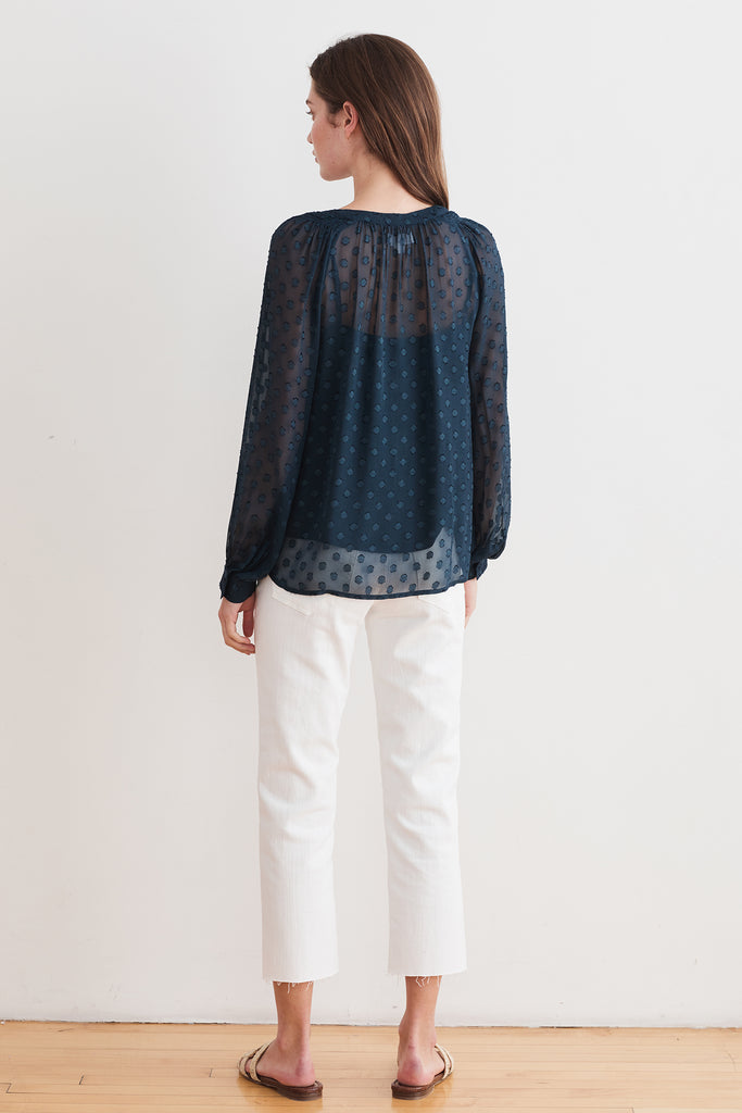 HELGA GEORGETTE SWISS DOT BLOUSE IN BLUE