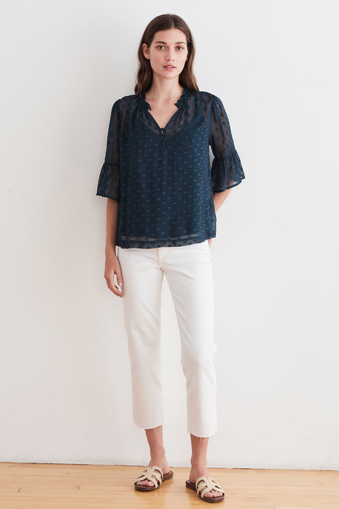 MYLIE GEORGETTE DOT BLOUSE IN BLUE