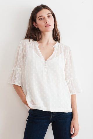 MYLIE GEORGETTE DOT BLOUSE IN CREAM