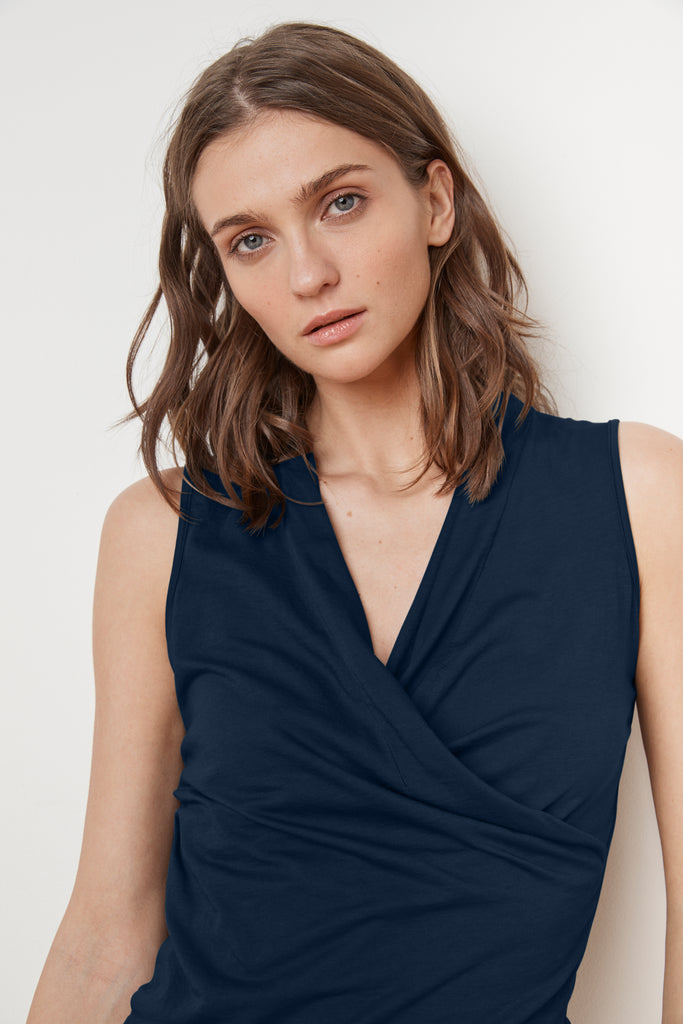 ADELISE GAUZY WHISPER WRAP TANK IN MIDNIGHT