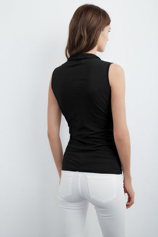 ADELISE GAUZY WHISPER WRAP TANK IN BLACK