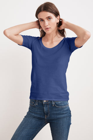 AMELIA GAUZY WHISPER 1/2 SLEEVE TEE IN ANCHOR