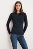 CHARA GAUZY WHISPER CONTRAST STITCH LONG SLEEVE TEE IN MIDNIGHT