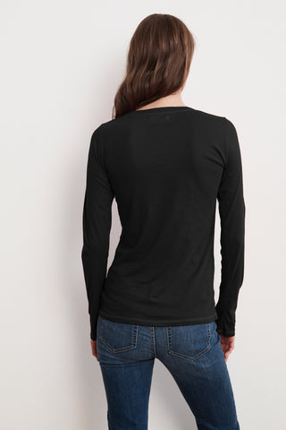 CHARA GAUZY WHISPER CONTRAST STITCH LONG SLEEVE TEE IN BLACK