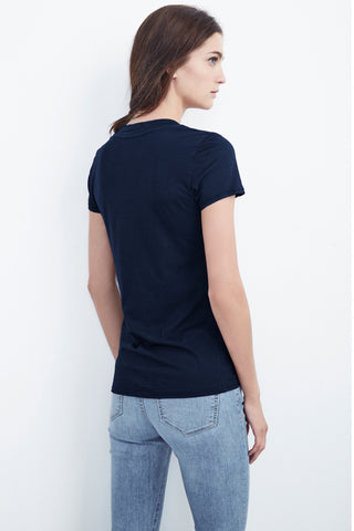 CHRISTIE GAUZY WHISPER V-NECK TEE IN MIDNIGHT