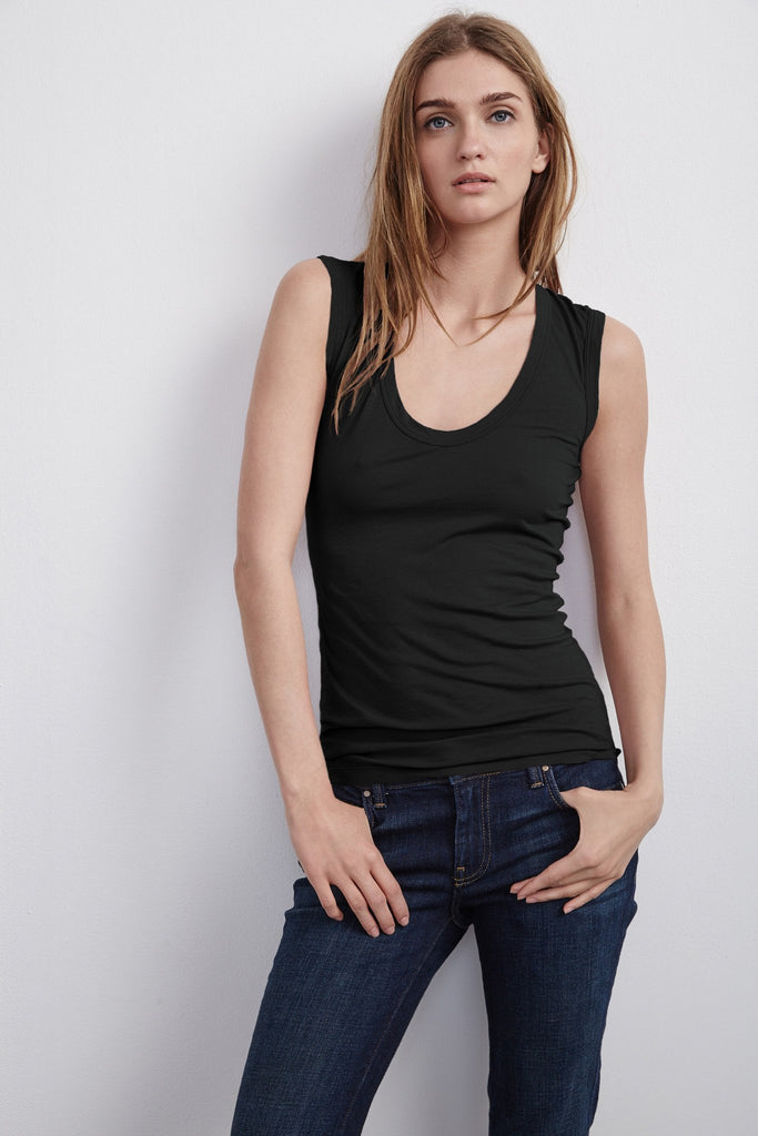 ESTINA GAUZY WHISPER TANK TOP IN BLACK