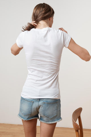 JEMMA GAUZY WHISPER CREW NECK TEE IN WHITE
