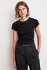 KYLO CONTRAST STITCHING GAUZY WHISPER CREW NECK TEE IN BLACK