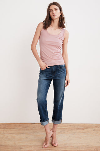 JERRY HIGH RISE STRAIGHT CUFF JEAN IN CARBON