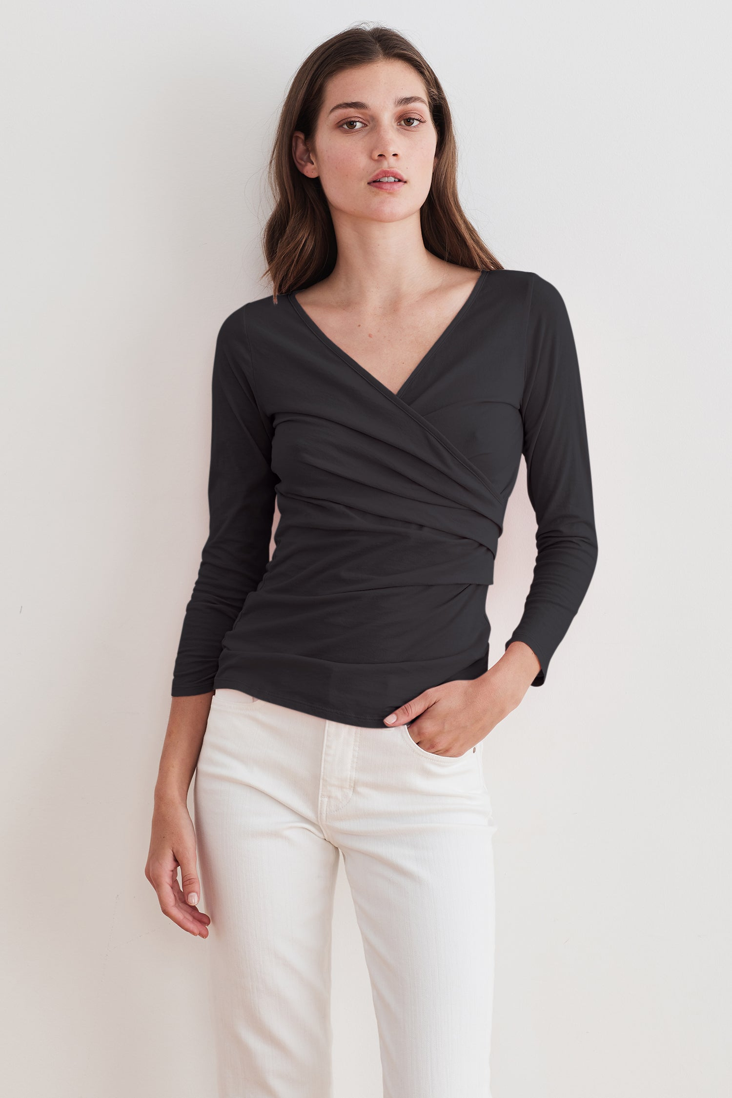 ROSA GAUZY WHISPER TOP IN BLACK