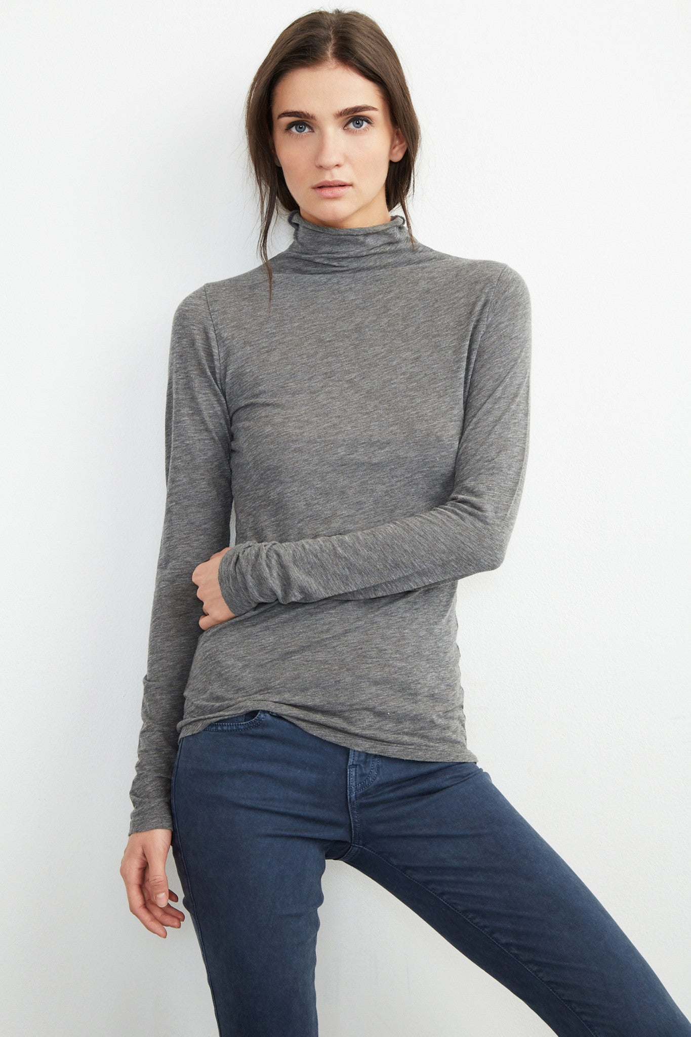 TALISIA GAUZY WHISPER TURTLE NECK TOP IN  CHARCOAL GREY