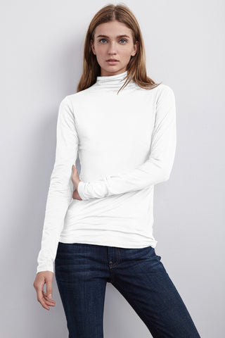 TALISIA GAUZY WHISPER TURTLE NECK TOP IN WHITE
