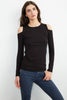 ZABANA COLD SHOULDER TEE IN BLACK
