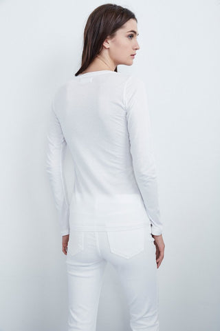 ZOFINA GAUZY WHISPER CREW NECK TEE IN WHITE