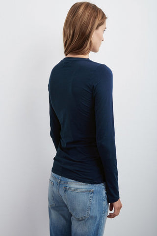 ZOFINA GAUZY WHISPER CREW NECK TEE IN MIDNIGHT