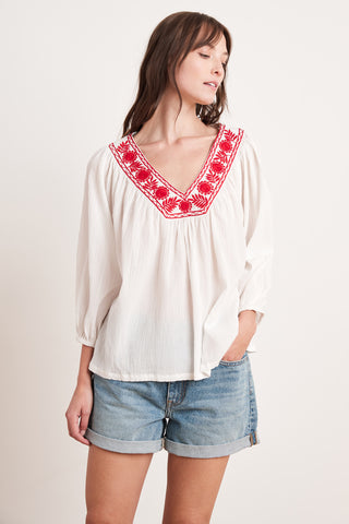 ZAYLEE HAND EMBROIDERY TOP IN WHITE/RED