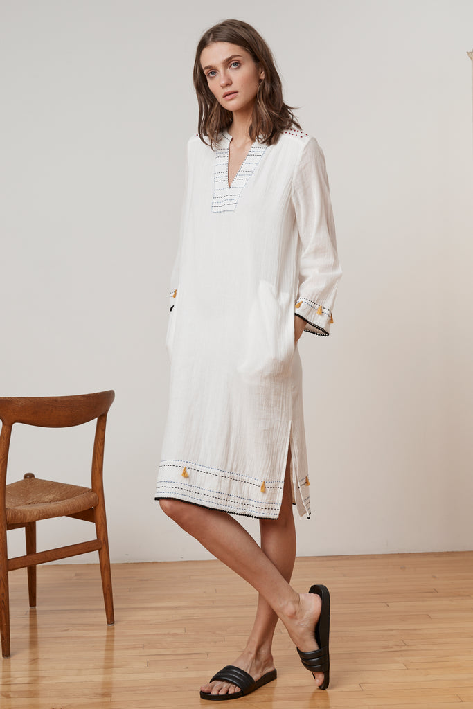 SAMILE HAND STITCH GAUZE TUNIC DRESS IN OFF WHITE