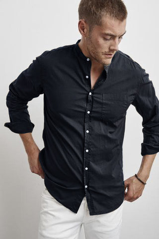 HEATH COLLARLESS WOVEN COTTON SHIRT IN POSTMAN