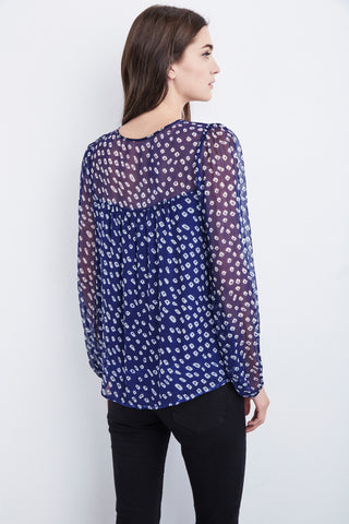 ANDRE IMAN PRINTED CHIFFON TOP IN MULTI