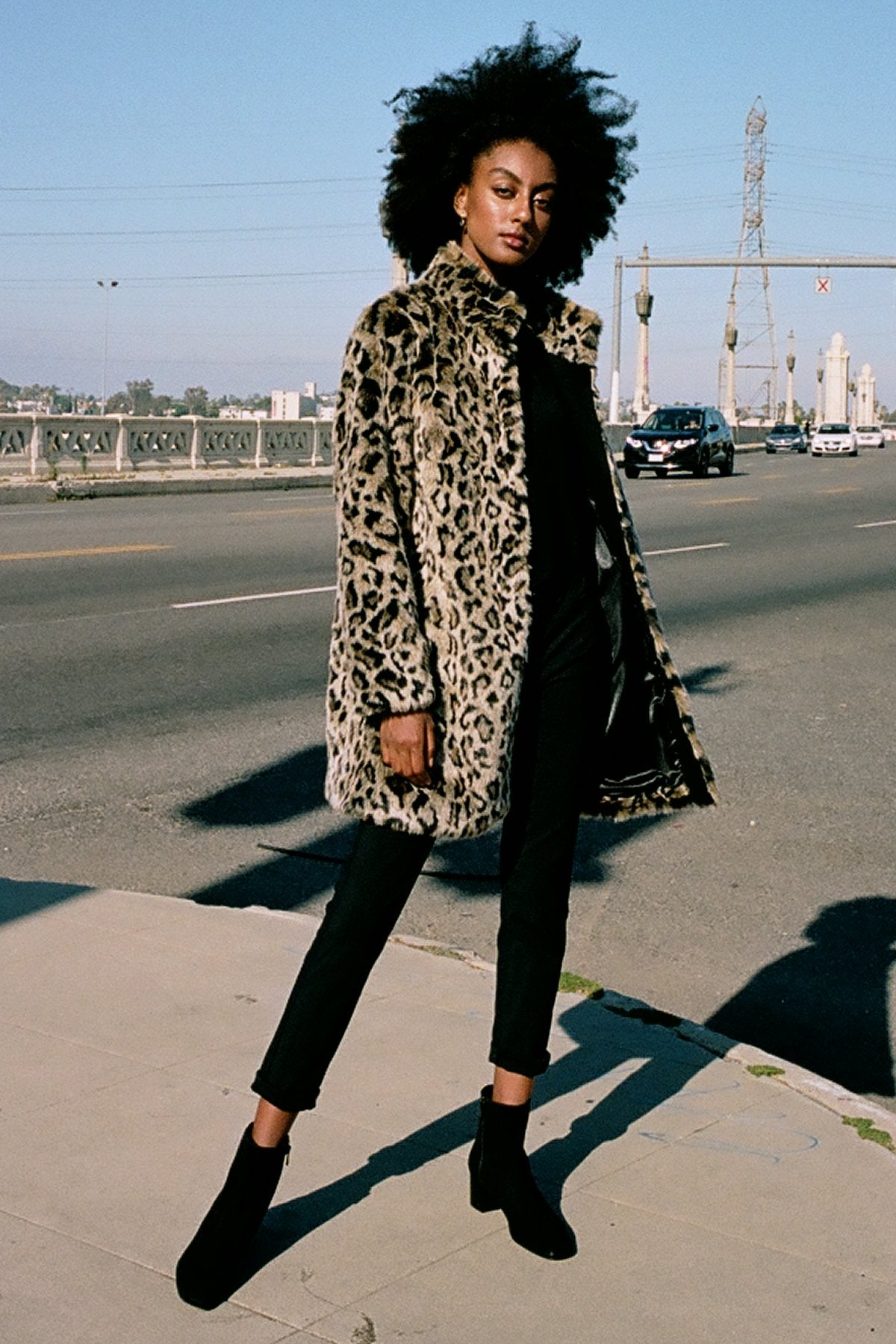 CHRISSIE ANIMAL LUX FUR COAT IN LEOPARD
