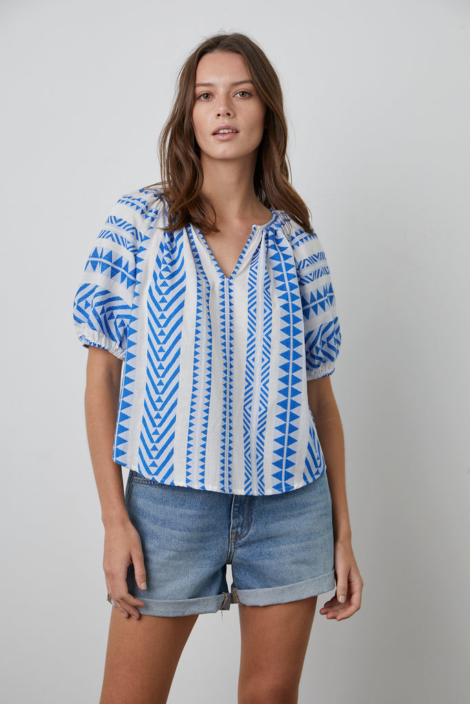 ZARIA JACQUARD TOP IN COBALT