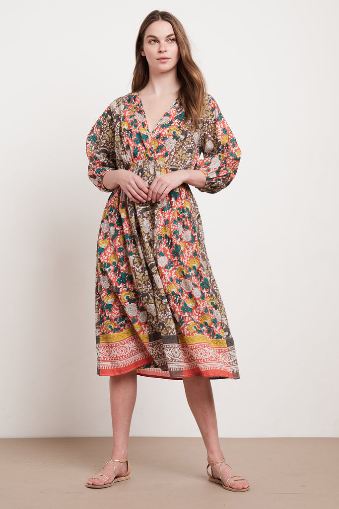 VOLETTA JAIPUR BLOCK PRINT DRESS IN MULTI