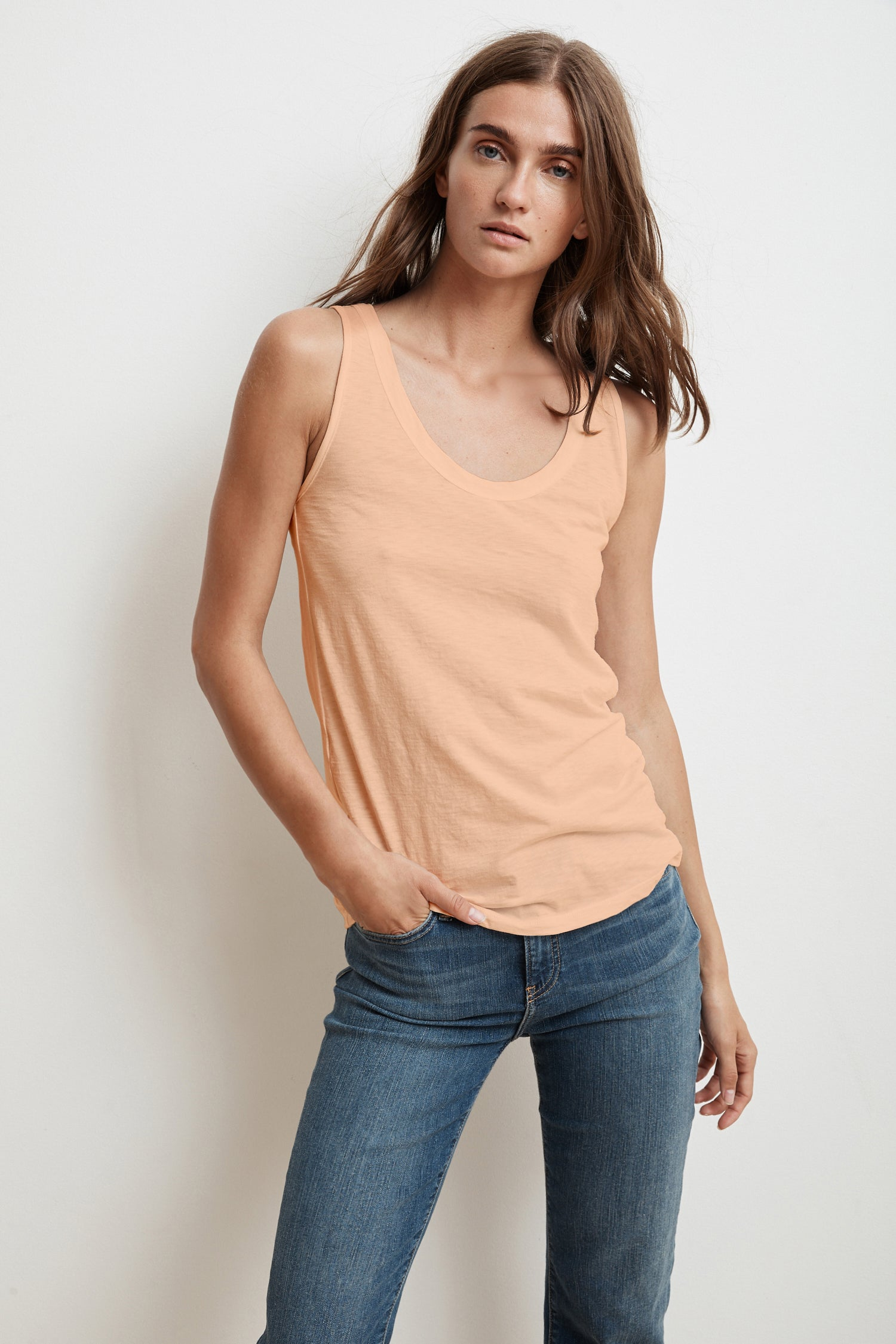 JEN SCOOP NECK TANK TOP IN CRUSH