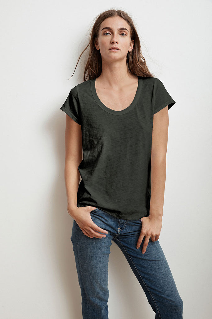 KATIE CITY COTTON SLUB T-SHIRT IN CIRRUS