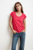 KATIE SHORT SLEEVE SCOOP NECK TEE IN FLIRTY