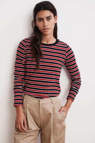 ARTY KNIT STRIPE CREW NECK TOP IN MULTI