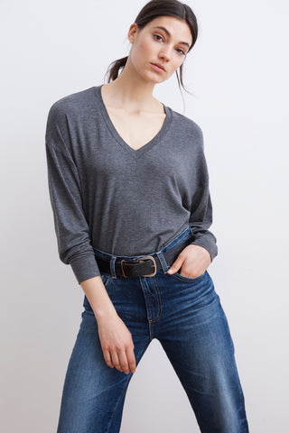 AFTON LUX GAUZE V-NECK TEE IN CHARCOAL