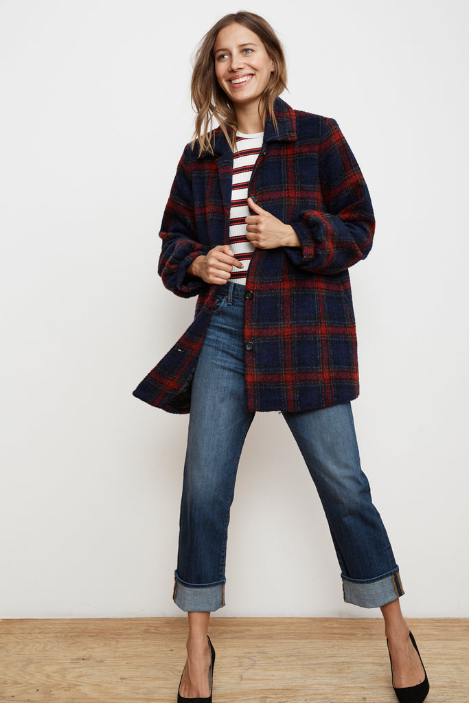 COLETTE WOOL BLEND PLAID COAT IN MULTI