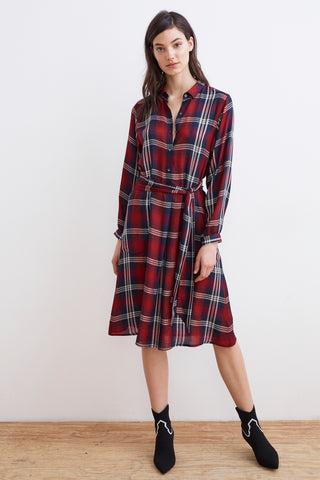 TILDA PLAID SHIRT DRESS IN MULTI