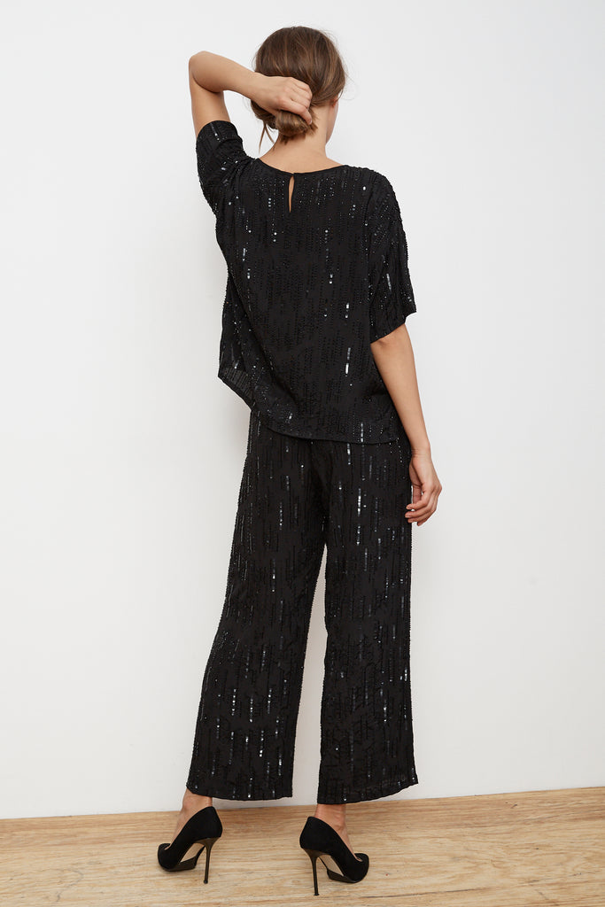 BRIGHTON RAIN DROP SEQUINS TOP IN BLACK