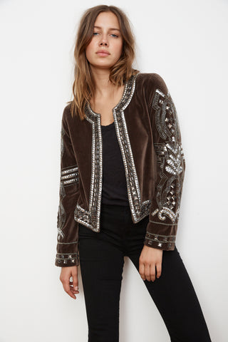 PEGGIE VELVET EMBELLISHED JACKET IN TAUPE