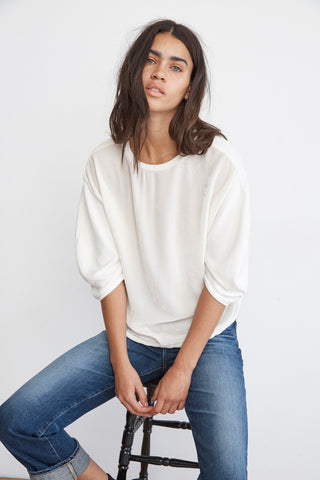 BERTA VELVET FLEECE PUFF SLEEVE TOP IN PEARL