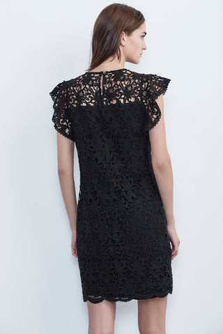 ALLY LACE CAP SLEEVE DRESS IN BLACK