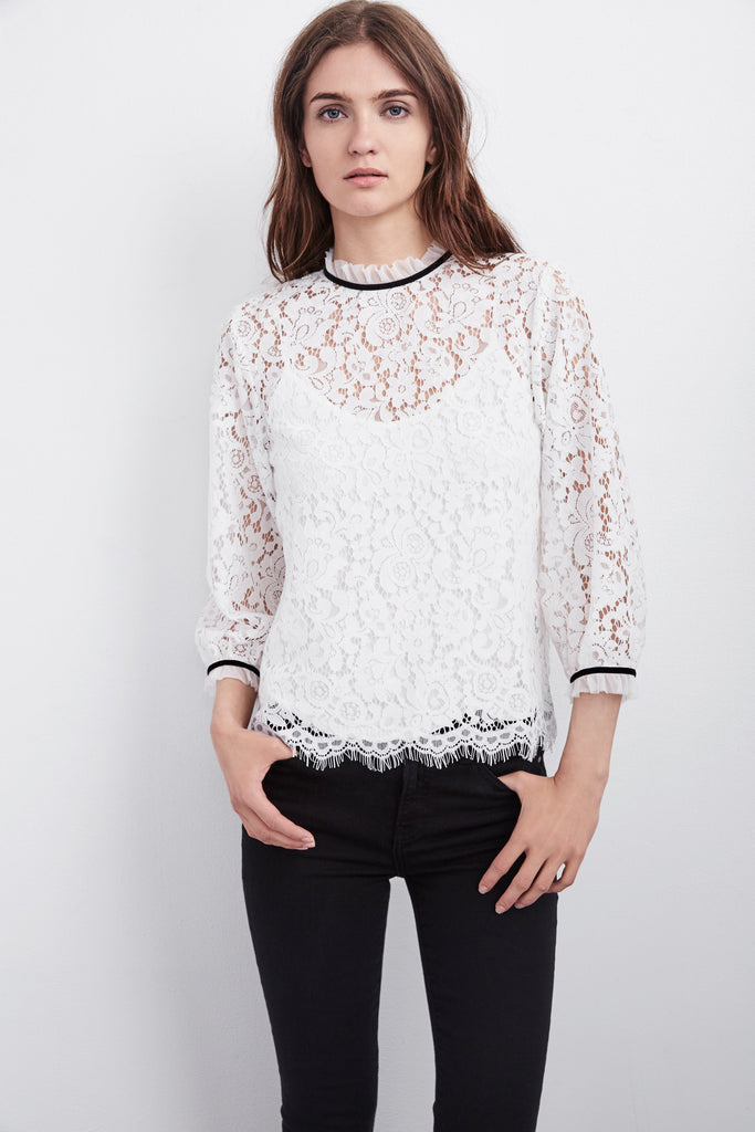ILISE MOCK NECK LACE BLOUSE IN CREAM