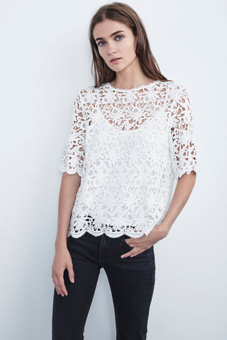 KAYLEE FLORAL LACE TOP IN WHITE