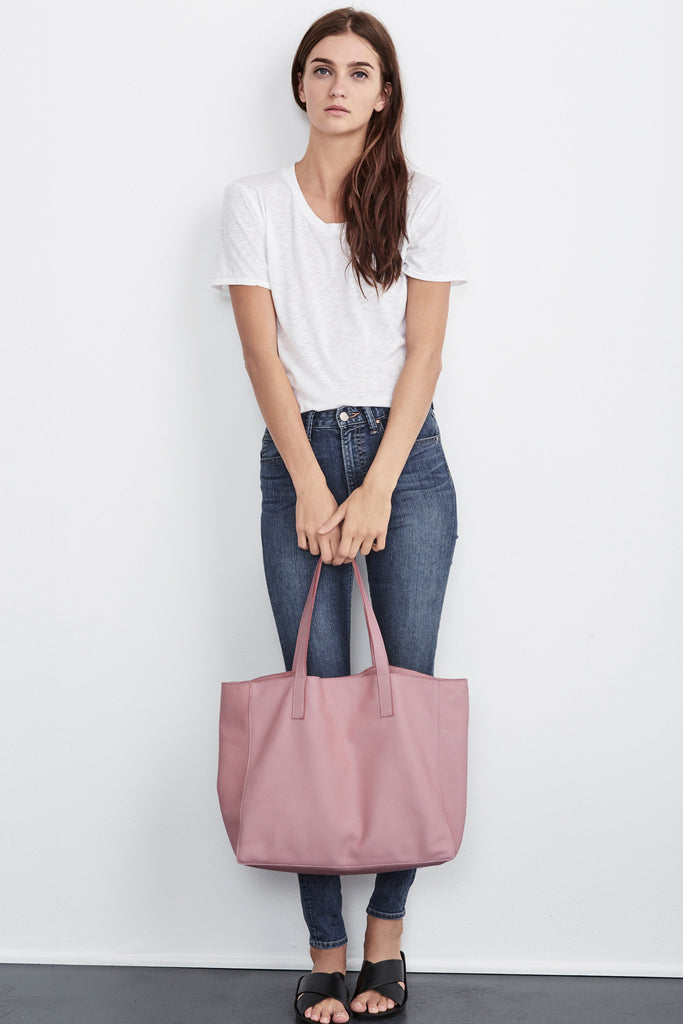 BREE LEATHER TOTE IN BLUSH