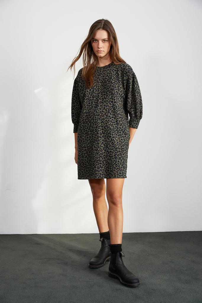 RIKA LEOPARD FLEECE 4 SLEEVE DRESS IN OLIVE