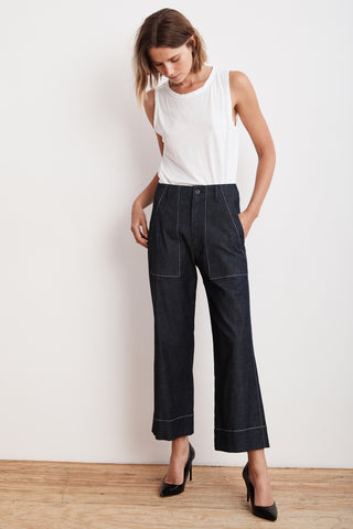 LANDA LIGHTWEIGHT DENIM WIDE LEG PANT IN INDIGO