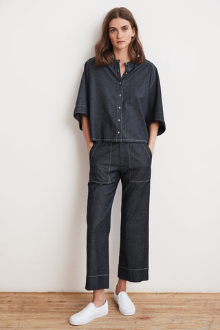 TALITHA LIGHT WEIGHT DENIM BUTTON UP SHIRT IN INDIGO