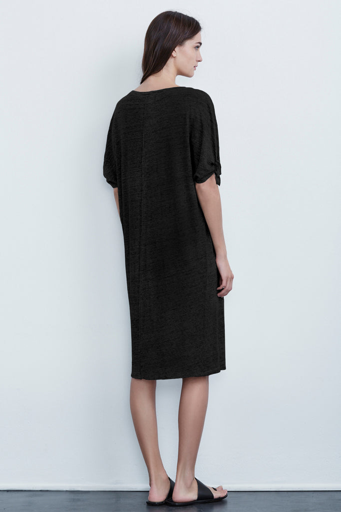 ANWEN LINEN KNIT KNOT SLEEVE DRESS IN BLACK