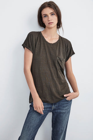 DENICE LINEN KNIT TEE IN CAVIAR