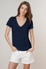 LAWANA LINEN KNIT V-NECK TEE IN VIKING