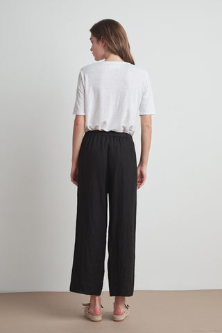 ZOLA WOVEN LINEN PANT IN BLACK