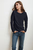LIZ LONG SLEEVE ROUND NECK TEE IN INK