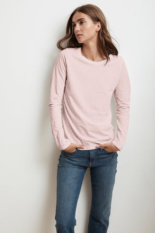 LIZ LONG SLEEVE ROUND NECK TEE IN BUBBLE
